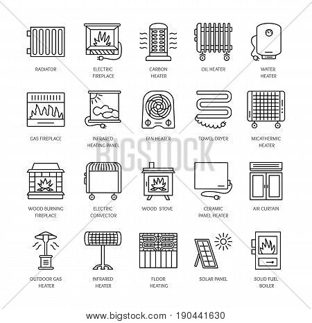 Vector line icons with radiator convector and fireplace. Heating equipment for home and office. Different styles of gas oil & electric heaters. Solar panel. Wood stove. Elements for space warming. stock photo