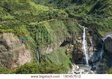 Waterfall in Cascades route in Banos Ecuador stock photo