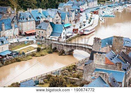 Top view on the famous Dinan town with viaduc and river Rance in Brittany region in France stock photo