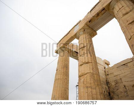 columns of the Acropolis (Propilea) Athens Greece stock photo