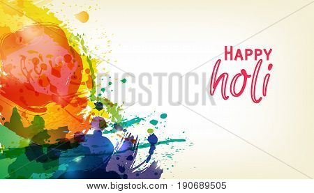 Happy Holi. Indian Fest Party celebration. Spring, festival of colour, splash, paint clouds, powder paint. Watercolor abstract background. Template for creative flyer, banner, business card design. stock photo