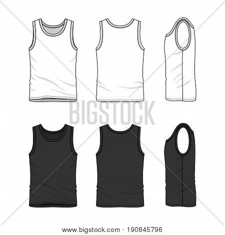 Male clothing set in white and black colors. Front, back and side views of blank undershirt. Vector templates in casual style. Fashion illustration. stock photo