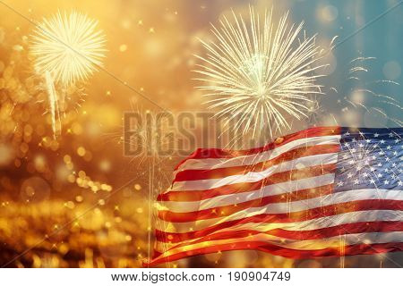 Celebrating Independence Day. United States of America USA flag with fireworks background for 4th of