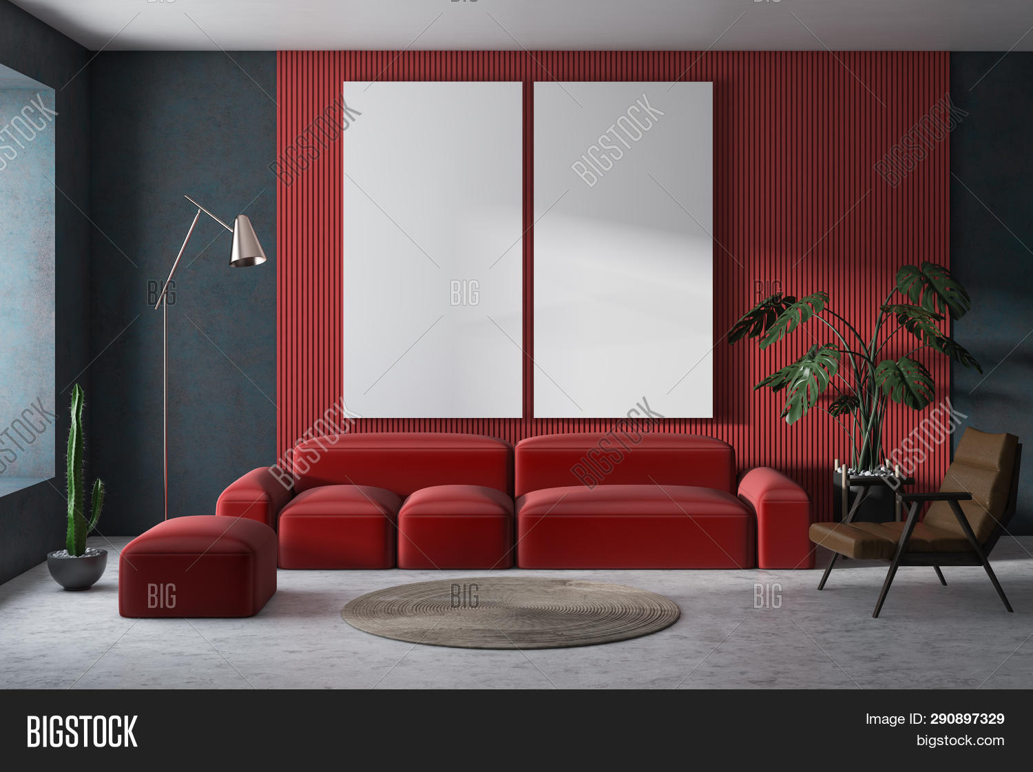 Red And Gray Living Room With Posters