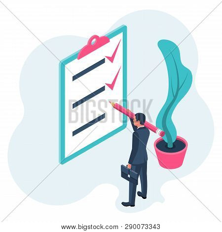List completed tasks. Vector illustration isometric design. Isolated on white background. Checklist successfully completed. Red checkbox. Businessman holding a big pencil. Completion goal. Checkbox stock photo