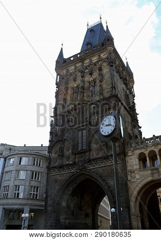 ancient building Powder Tower or Powder Gate is a Gothic tower in Prague in  Czech Republic in Europe stock photo