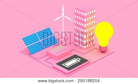 Concept of alternative ecological sources of energy as sun batteries and windmills abstract 3D illustration. Provision of electricity for a city stock photo