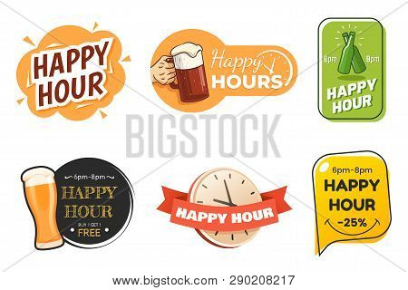 Happy hour banner collection. Colorful badges in different styles. Special offer for bar, cafe, club. Signs with beer glasses and text. Applicable for menu design, flyers, posters. Vector eps 10. stock photo
