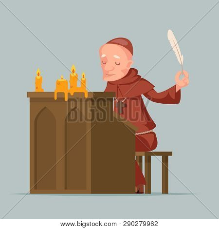 Monk write chronicles historical events writer scribe medieval stand feather pen ink scroll copy candles cartoon chronicler design vector illustration stock photo