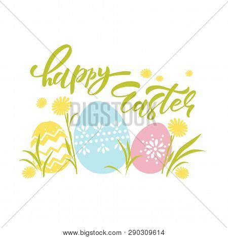 Hand Sketched Happy Easter Text As Pascha Logotype, Badge And Icon. Drawn Resurrection Sunday Postca