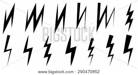Set of icons thunder and lightning, vector symbol z sign zigzag lightning stock photo