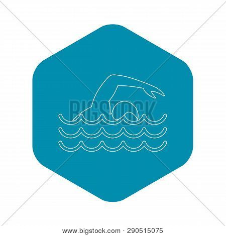 Man swimming the front crawl in a pool icon. Outline illustration of man swimming the front crawl in a pool vector icon for web stock photo