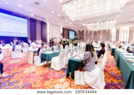 Blurry of auditorium for shareholders' meeting or seminar event with projector, Annual shareholder meeting stock photo