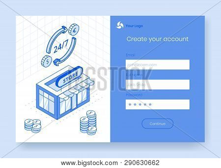 Digital isometric design concept set of financial foreign exchange app 3d icons,ready to use sign up,create account,online registration form.Isometric business financial symbols,web online concept stock photo