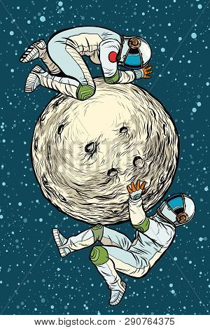 astronauts on the moon, space exploration. Pop art retro vector illustration kitsch vintage stock photo