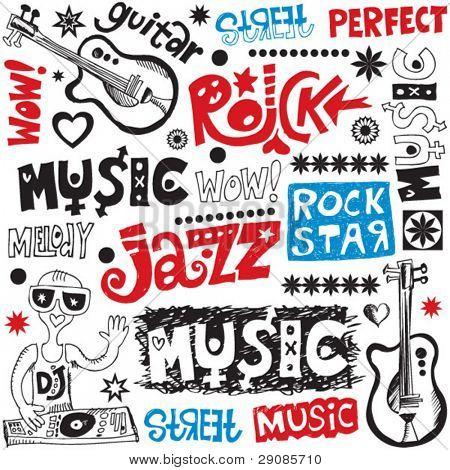 Musique drôle doodles