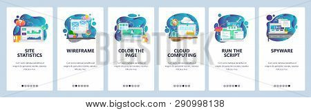 Mobile app onboarding screens. Online cloud services, website wireframe and development, cloud computing. Menu vector banner template for website and mobile development. Web site flat illustration stock photo