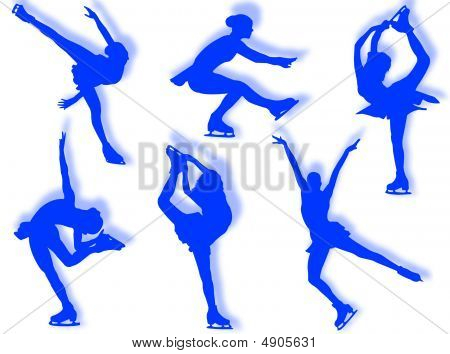 Ice skater silhouette in different poses and attitudes stock photo