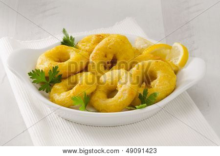 Spanish cuisine. Tapas. Fried Squid Rings in a white plate. Selective Focus. Calamares a la Romana. stock photo