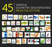 Set of different geometricabstract foundations - 45 conceptual outline layouts prepared to utilize -