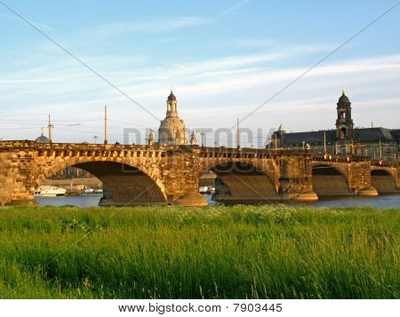 World Cultural Heritage: Old stone bridge in Dresden, Germany stock photo