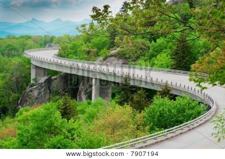 The Linn Cove Viaduct. Part of the Blue Ridge Parkway near Grandfather Mountain, North Carolina. stock photo