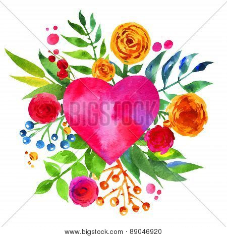 Vintage background with flowers in love and flower heart, Beautiful watercolor floral heart. Love He
