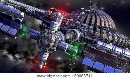 Alien spaceship, with central dome and gravitation wheel, in interstellar deep space travel, for futuristic or fantasy backgrounds stock photo