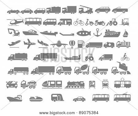 Vehicle and Transportation flat icon set. Vector flat design illustration.