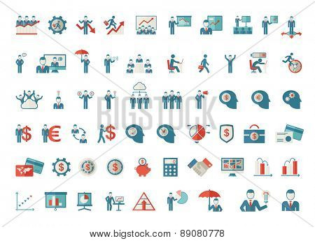 A set of business icon-people, money card, graph, calculator, bulb idea, human head icons. Vector fl