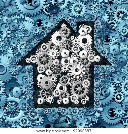 Real estate business concept as house or home automation made of gears and cog wheels as a symbol for investing in residential construction ideas and mortgage financing or a smart home symbol. stock photo