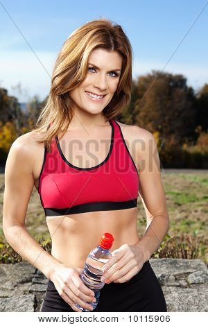 A shot of an active beautiful caucasian woman outdoor in a park stock photo