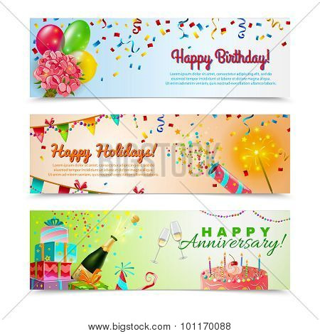 Happy anniversary birthday party celebration in holidays season 3 horizontal festive colorful decorative banners abstract vector illustration stock photo