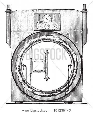 Sec meter, invariable measure, vintage engraved illustration. Industrial encyclopedia E.-O. Lami - 1875. stock photo