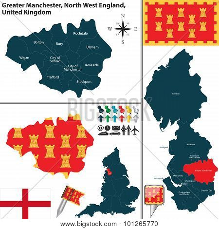 Vector map of Greater Manchester in North West England United Kingdom with regions and flags stock photo