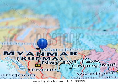 Photo of pinned Naypyidaw on a map of Asia. May be used as illustration for traveling theme. stock photo