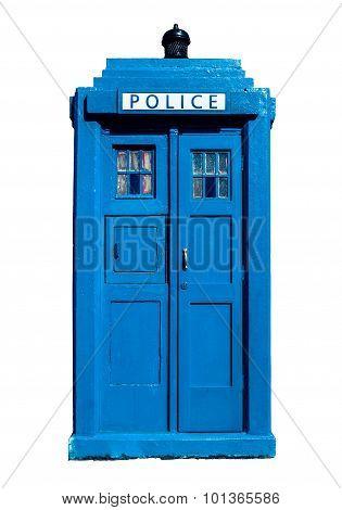 Traditional Uk Police Box-Lg Fridge Magnet Skin (size 36x65)
