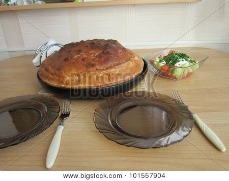 Tatar national festive meat pie and potatoes stock photo
