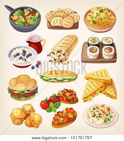 Set Of Colorful Vegetarian Food.