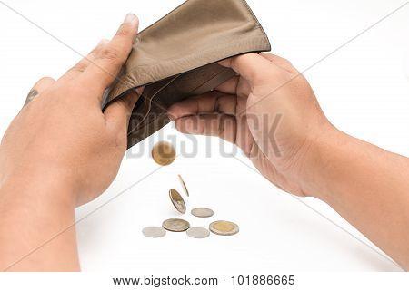 Human hand and empty wallet - broke stock photo