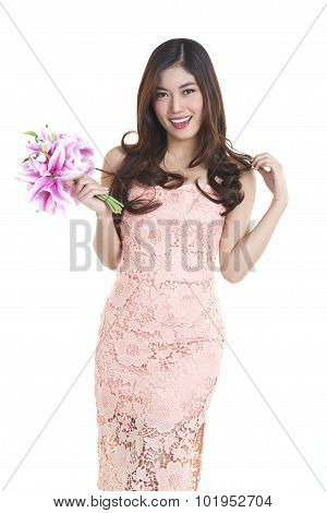 portrait of attractive pretty asian woman isolated on white studio shot with flower stock photo