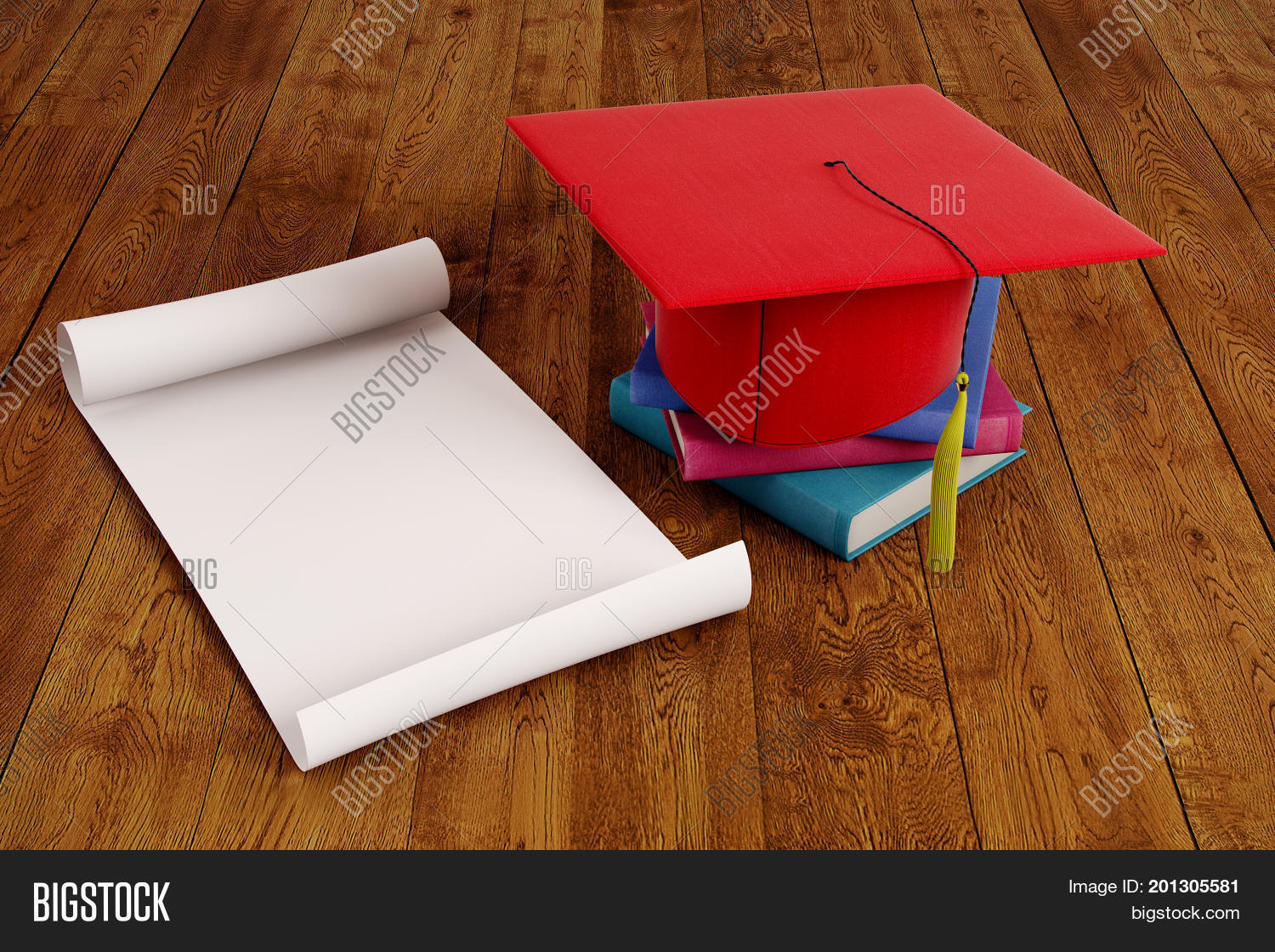 Mortarboard and empty paper scroll placed on wooden surface. Graduation ceremony concept. Mock up 3D Rendering