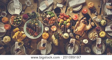 Thanksgiving Celebration Table Setting Concept