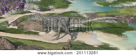 Computer generated 3D illustration with the dinosaur Allosaurus in a landscape