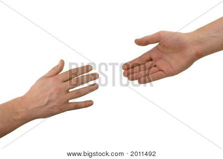 Two hands (help) isolated on white background stock photo