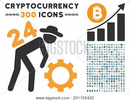 Nonstop Working Person icon with 300 blockchain, bitcoin, ethereum, smart contract images. Vector clip art style is flat iconic symbols. stock photo