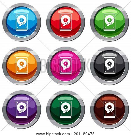 HDD set icon isolated on white. 9 icon collection vector illustration stock photo