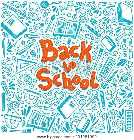Stationery collection. Outline style. Back to school thin line vector doodle illustration template isolated on white background.  Back to school. Writing material stock photo