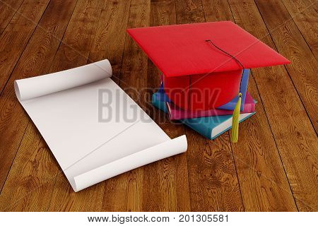 Mortarboard and empty paper scroll placed on wooden surface. Graduation ceremony concept. Mock up 3D Rendering stock photo