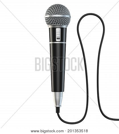 Microphone and cable isolated on white background 3D render stock photo
